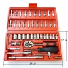 46-Piece 1/4 Socket Set Car Repair Ratchet Wrench Set Combo Tools Kit
