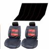 Leather Red Stitches Full Set Front & Rear Car Seat Covers Protector Universal